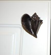 conch shell cabinet knob - left facing - dark bronze
