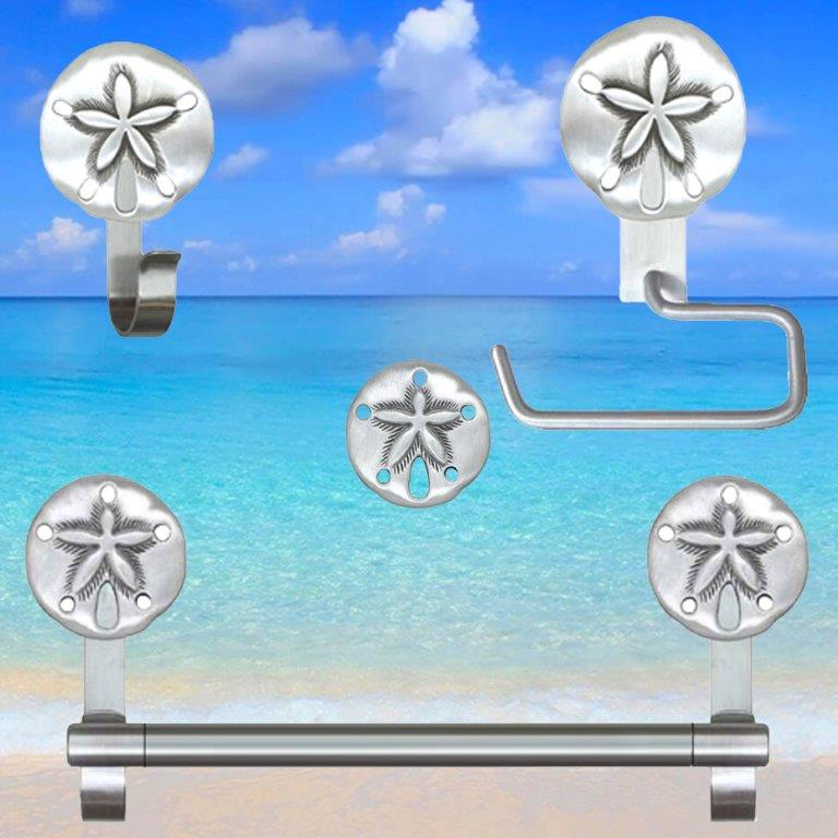Sand Dollar Cabinet Knobs and Pulls for Beach Bathroom Decor