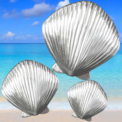 Scallop shell cabinet knobs for coastal kitchen or bathroom decor
